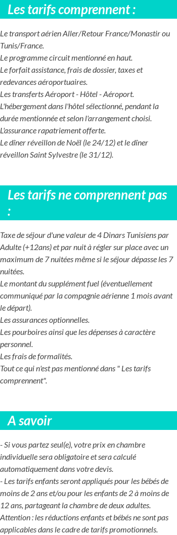 Conditions tarifaires